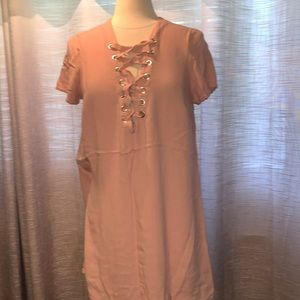 Forever 21 pink lace up tunic/mini dress